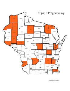 Map of Wisconsin where Triple P is administered.